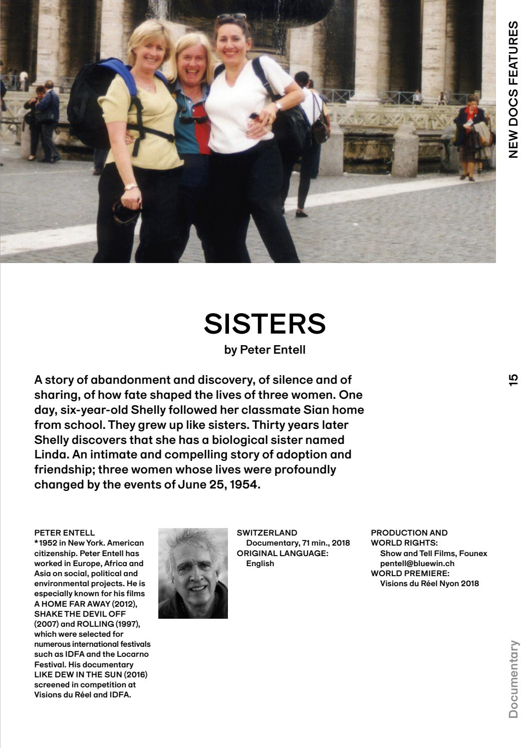 «Sisters» un film de «Peter Entell» (2018) Production : Show and Tell Films   BANDE ANNONCE